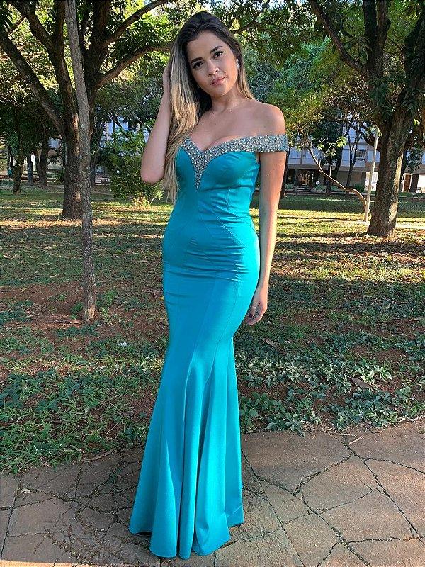 Vestido de Festa Azul Longo Liso Decote Bordado Lauren Aluguel