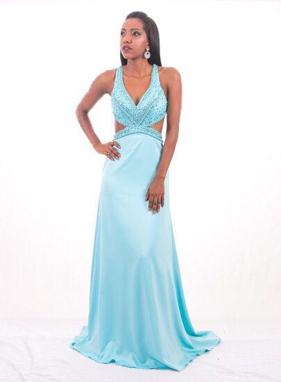 Vestido de Festa Azul Longo Decote Bordado Keila