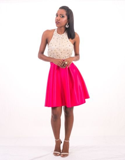 5828-Vestido Rosa CurtoTulipa