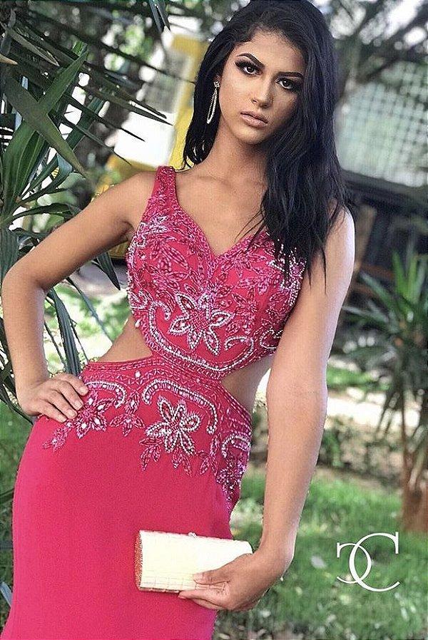Vestido de Festa Beatrice  Pink Longo Decote Bordado