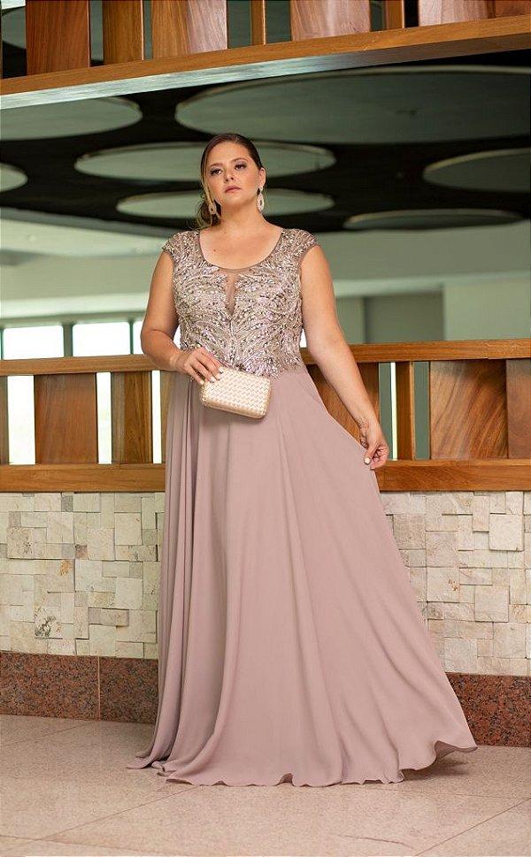 5863-Vestido-Cinza Longo Eva