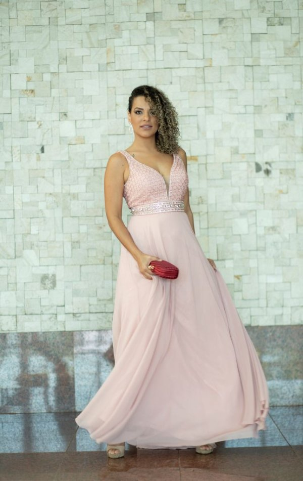 Vestido de Festa Rosa Longo Dalila Aluguel