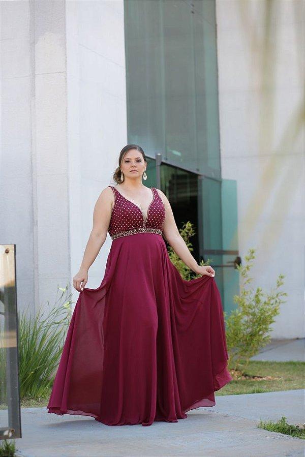 Vestido de Festa Plus Size Marsala Longo  Dalila Aluguel