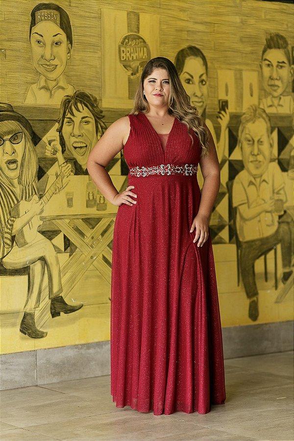 5909-Vestido Marsala Longo Carmina