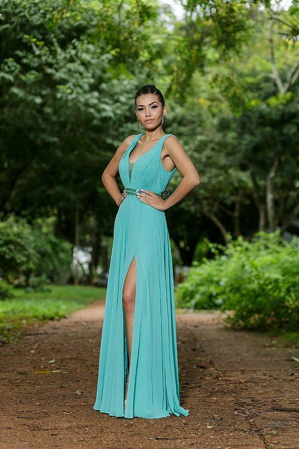 5777-Vestido Verde Longo Arlete BRISAS