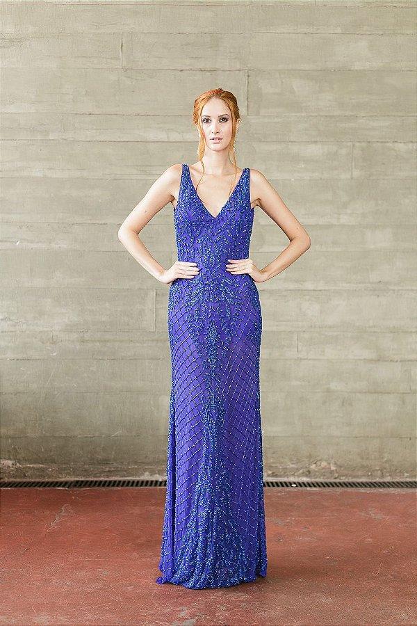 Vestido de Festa Azul Longo Bordado Susi