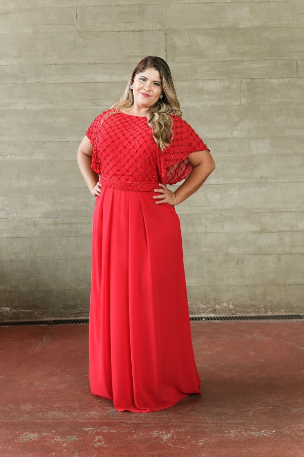 5894-Vestido Vermelho Longo Mariza