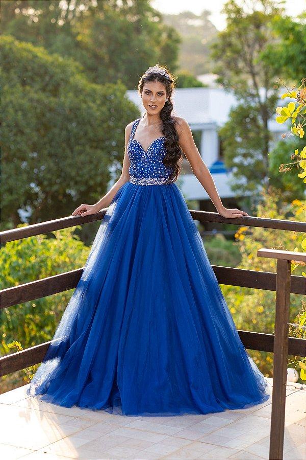 Vestido de Festa Debutante Azul Royal Dois Em Um Bella Aluguel