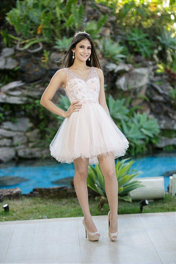 778-Vestido Rosa Curto Karine