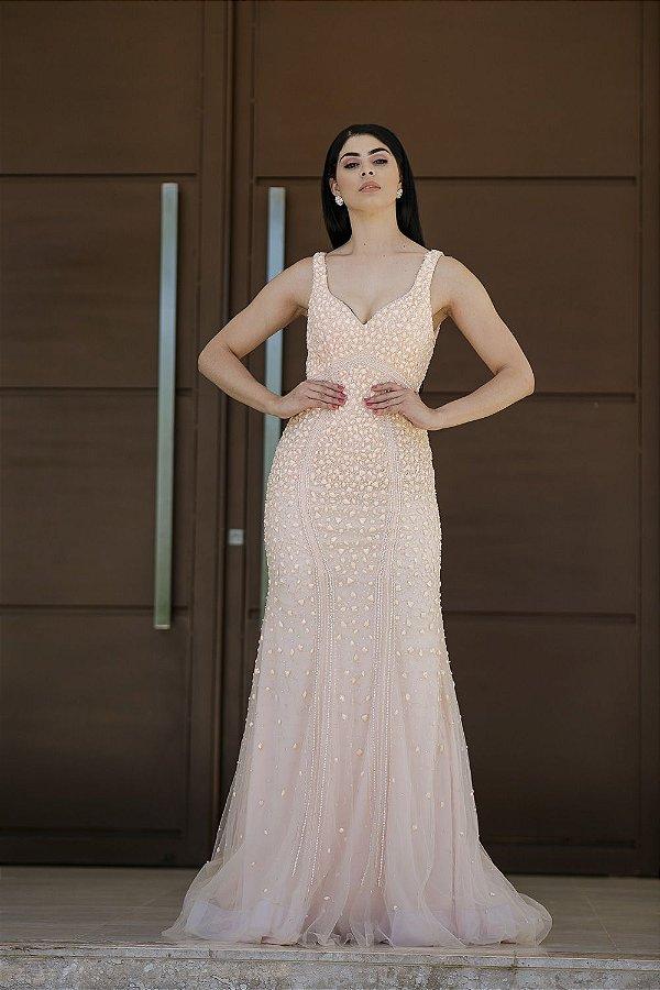 Vestido de Festa Rose Longo Sereia Decote Bordado Daiana