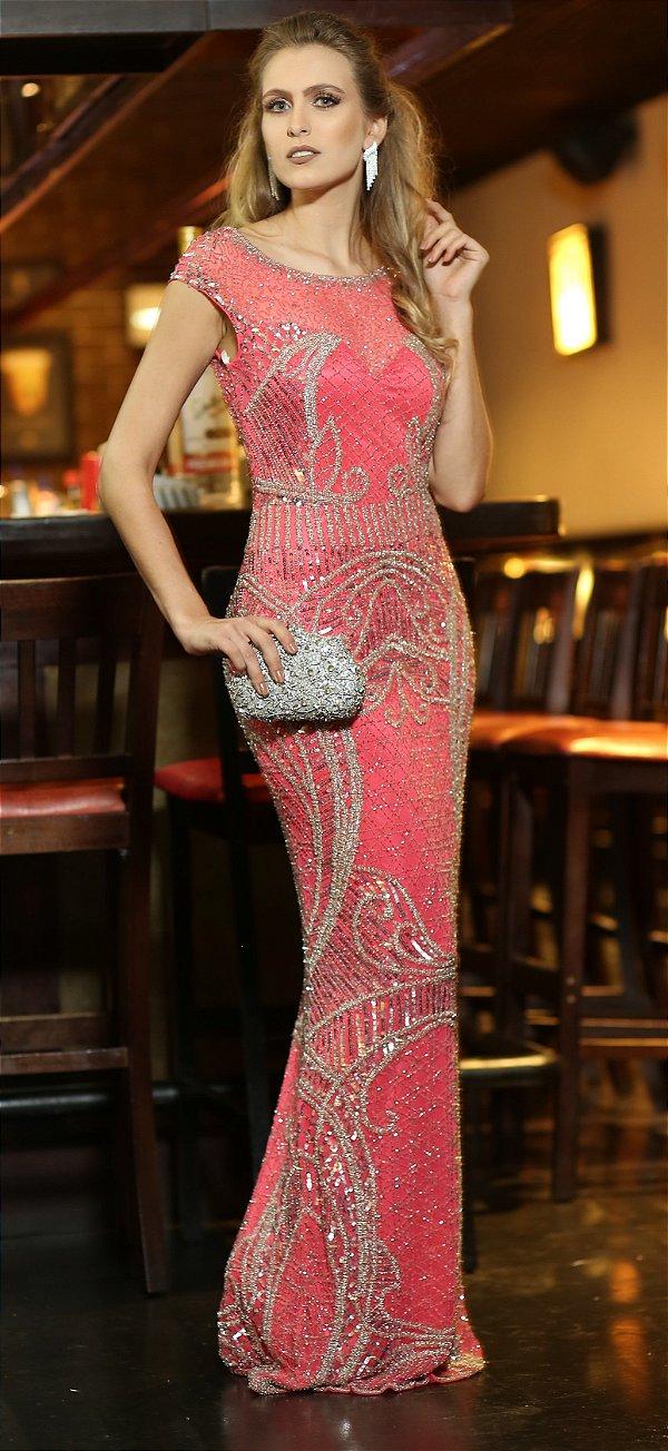Vestido de Festa Coral Longo Sereia Bordado Anabela Aluguel