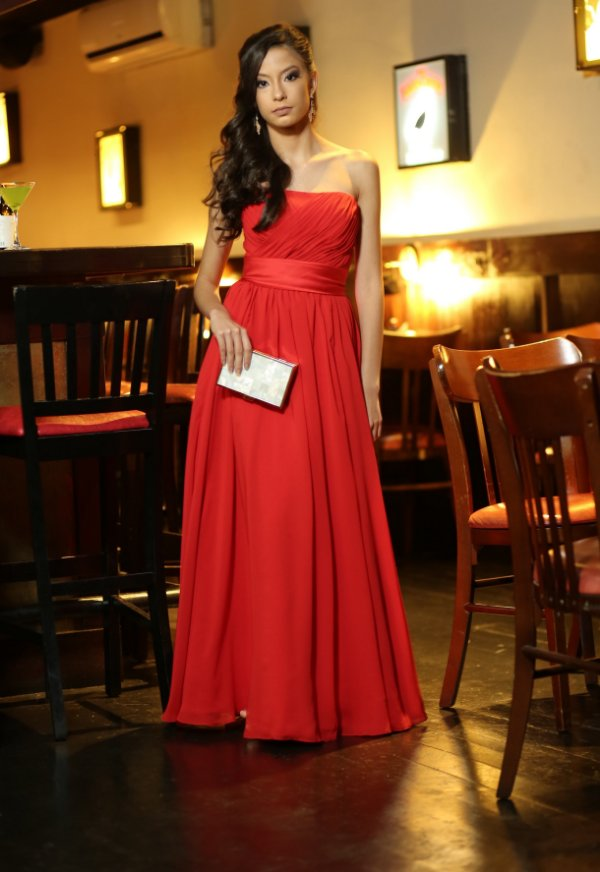 Vestido de Festa Vermelho Longo Tomara que Caia Nataly Aluguel