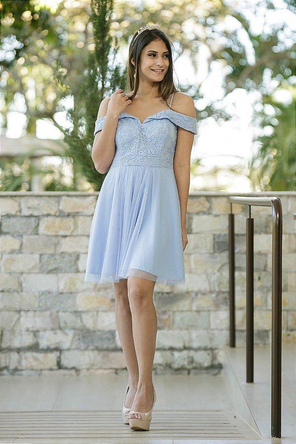 Vestido de Festa Debutante Azul Curto Primavera Aluguel