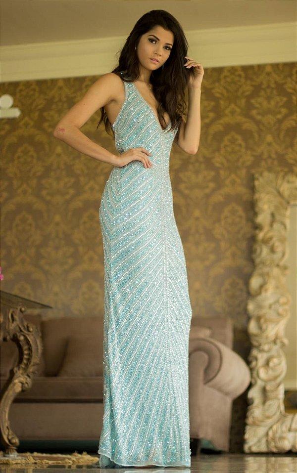Vestido de Festa Azul Serenity Longo Decote Bordado Justine