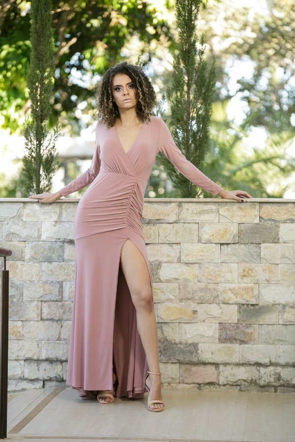 Vestido de Festa Rosa Antigo Longo Liso Mariska