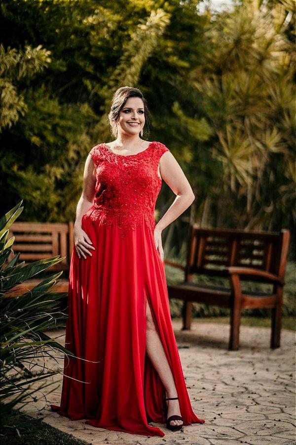 Vestido de Festa Plus Size Vermelho Longo Liso Jessie Aluguel