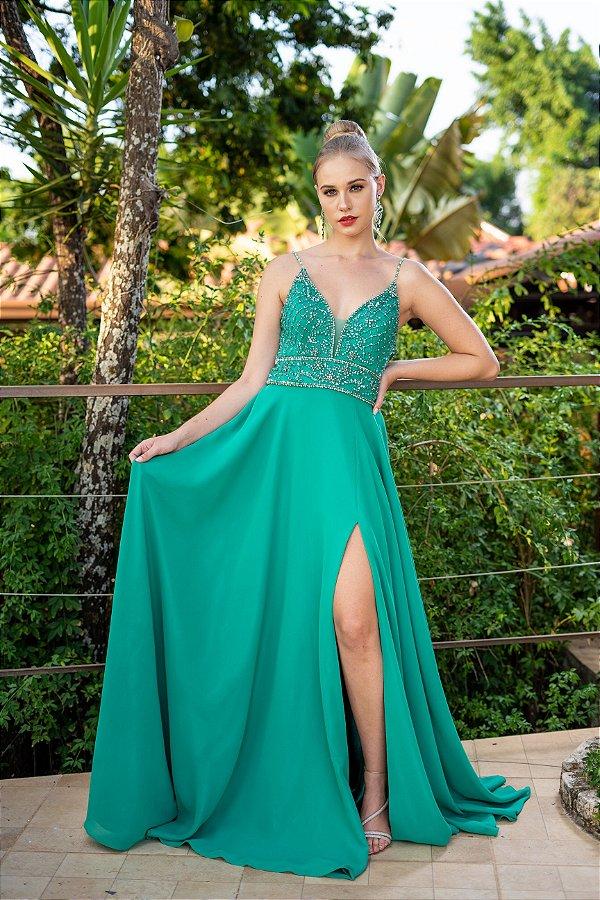 Vestido de Festa Verde Longo Liso Bordado Martina Aluguel