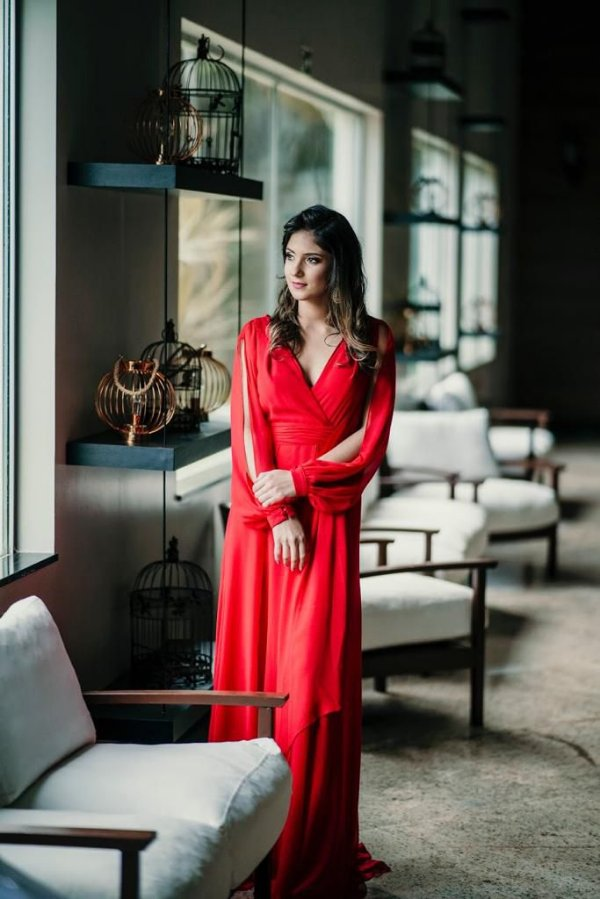 Vestido de Festa Vermelho Longo Liso Larissa Aluguel