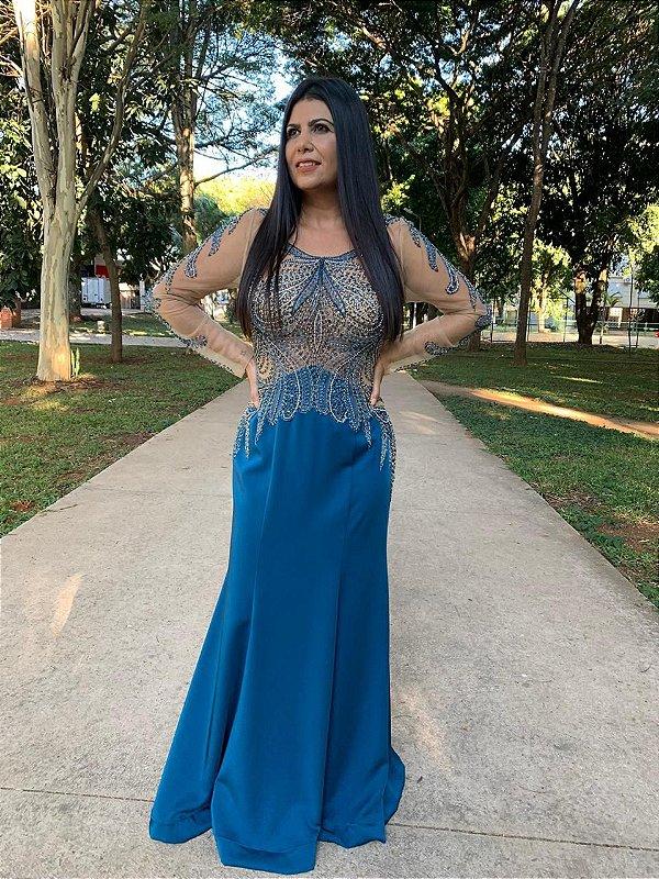 Vestido de Festa Azul Longo Sereia Bordado Manga Elizabeth
