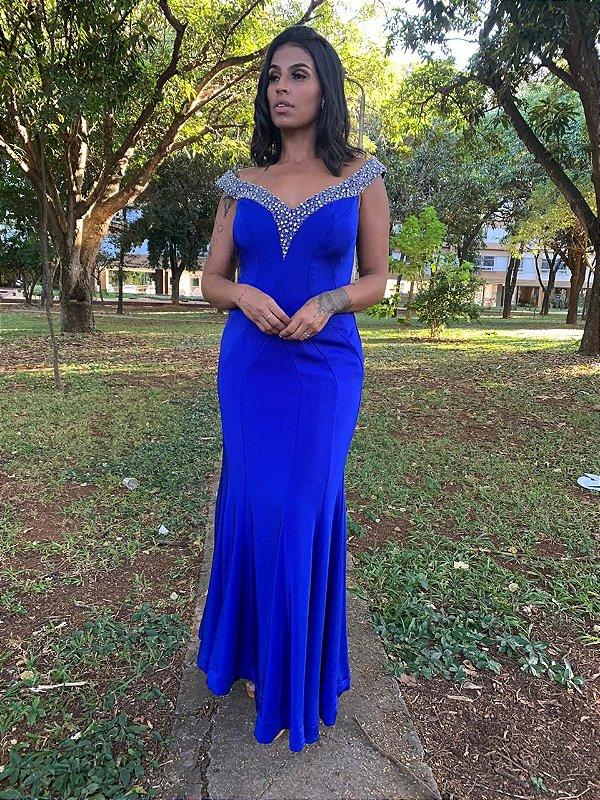 Vestido de Festa Azul Royal Longo Bordado Lauren Aluguel