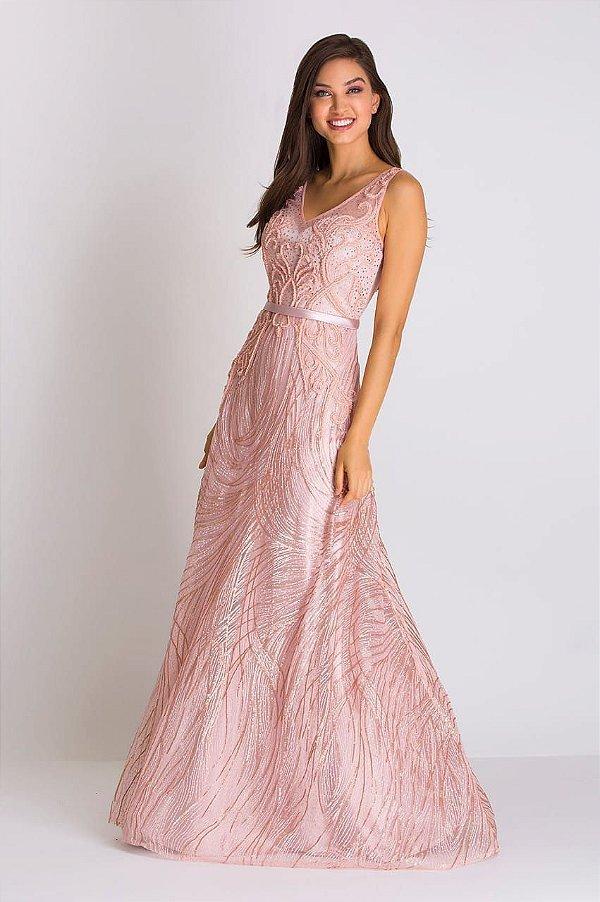 Vestido de Festa Rose Longo Bordado Helene Aluguel