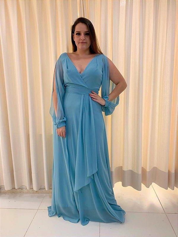 Vestido de Festa Azul Serenity Longo Liso Larissa Aluguel
