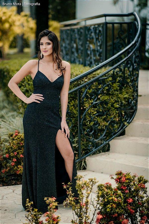 Vestido de Festa Preto Longo Sereia Lurex Fenda Decote Black Carpet