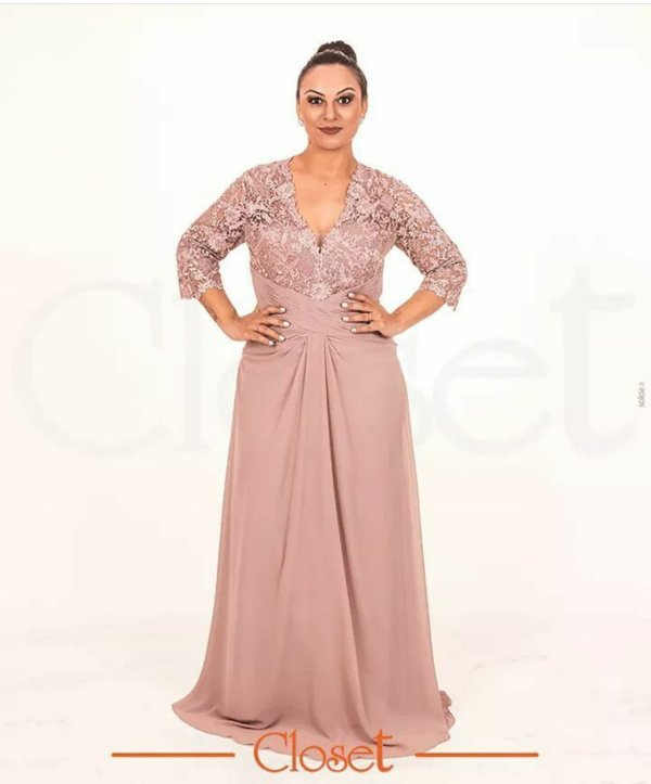 Vestido de Festa Rosa Rosé Manga Renda  Acanta