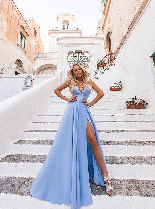 Vestido de Festa Azul Serenity Longo Liso Fabíola