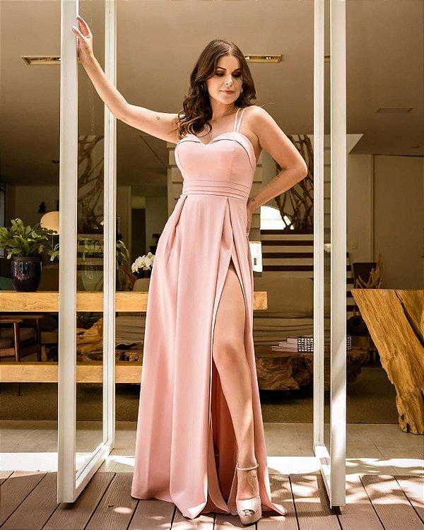 Vestido de Festa Rosê Longo Liso Fenda Rosita