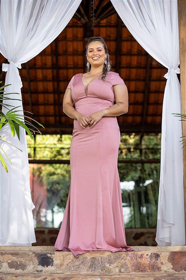 Vestido de Festa Plus Size Longo Rosa Liso Dalia