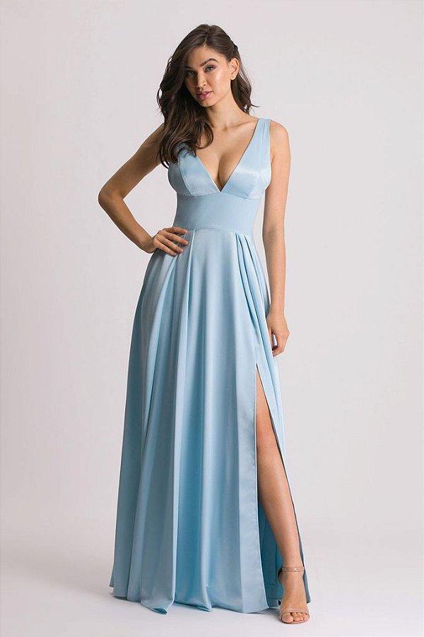 Vestido de Festa Liso Azul Serenity Paulina Aluguel
