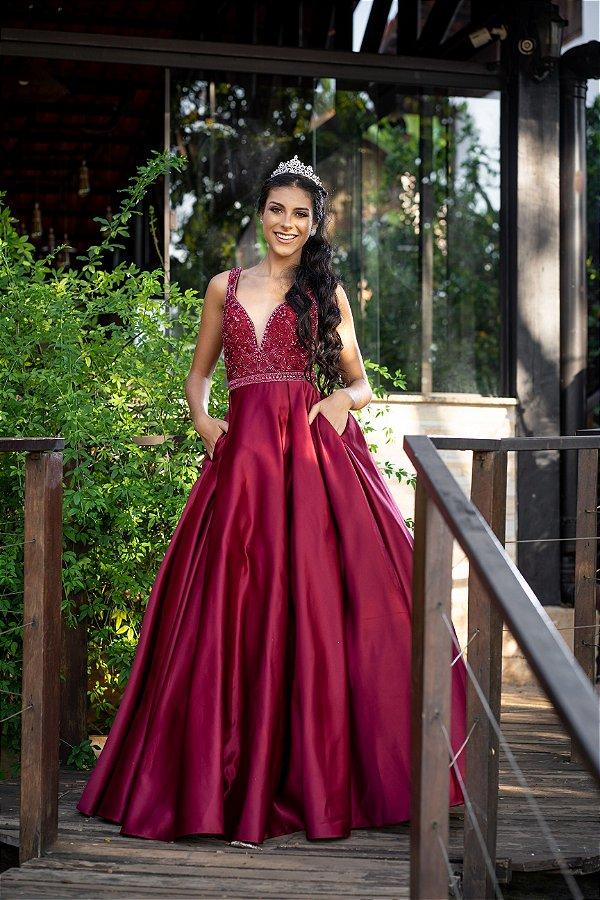 Vestido De Festa Katrine Marsala Aluguel