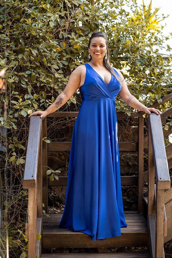 Vestido De Festa Angela Azul Royal Liso Aluguel