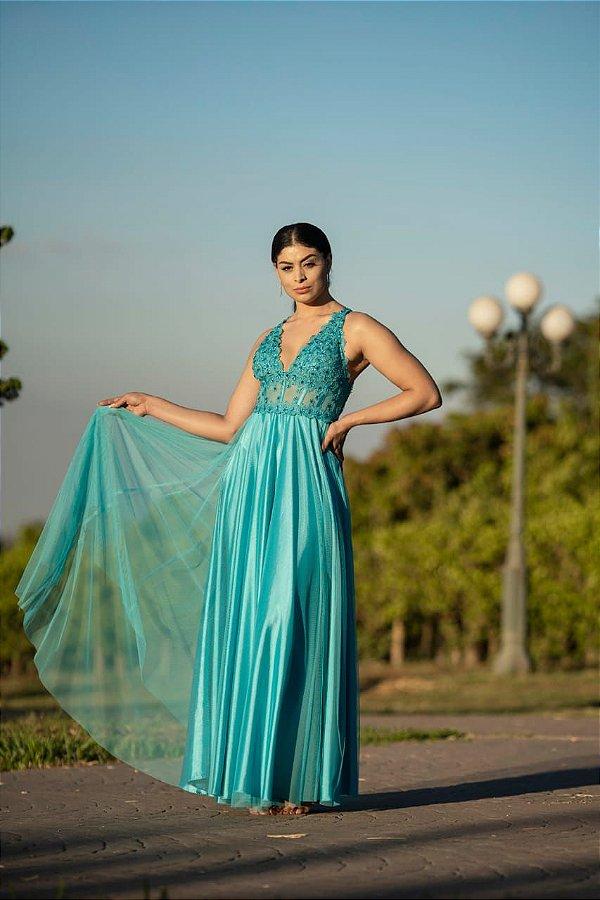 Vestido De Festa Theodora Azul Longo Aluguel