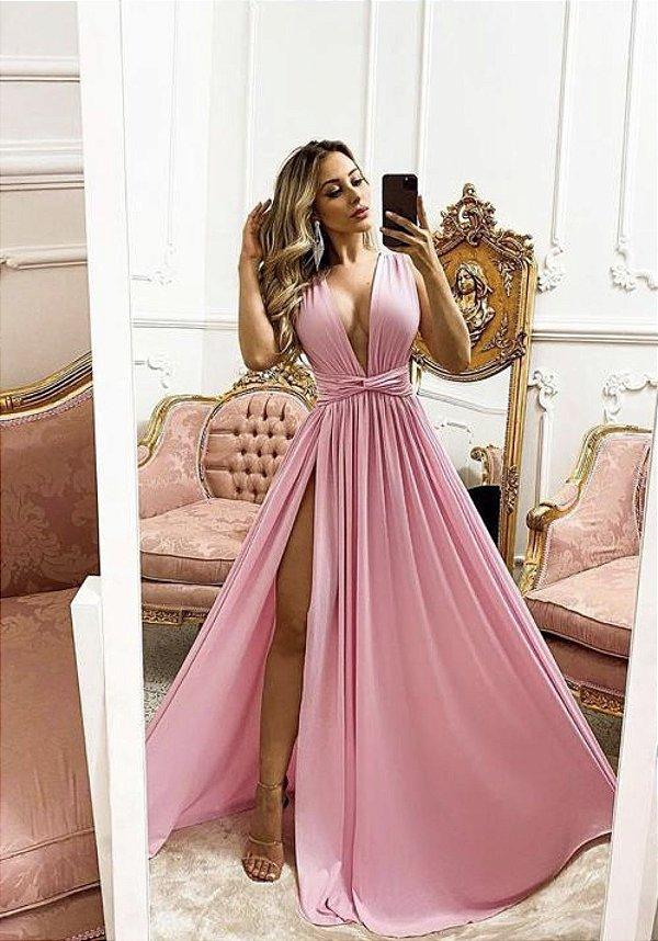 Vestido de Festa Longo Clarisse Rosa Aluguel