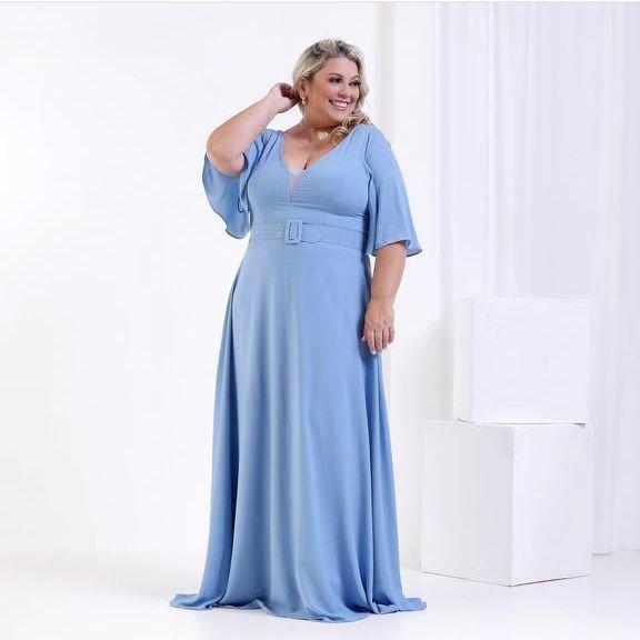 Vestido de Festa Longo Liso Azul Serenity Carita
