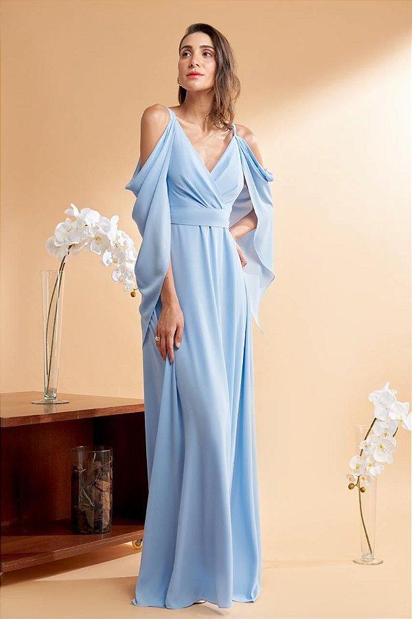 Vestido De Festa Tania Longo Liso Azul Serenity Aluguel