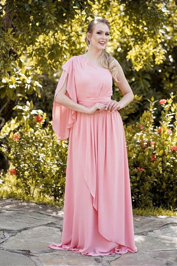 Vestido de Festa Livia Longo Liso Rosa Nula Manga