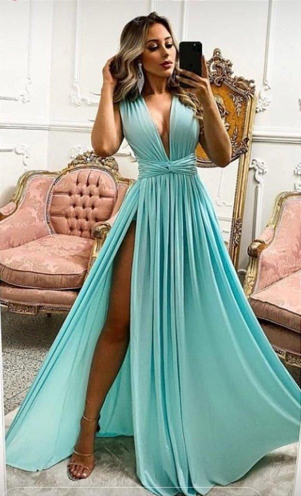 Vestido De Festa Clarisse Longo Liso Tiffany