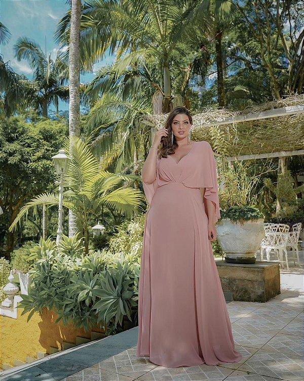 Vestido De Festa rosa  Longo Hosana