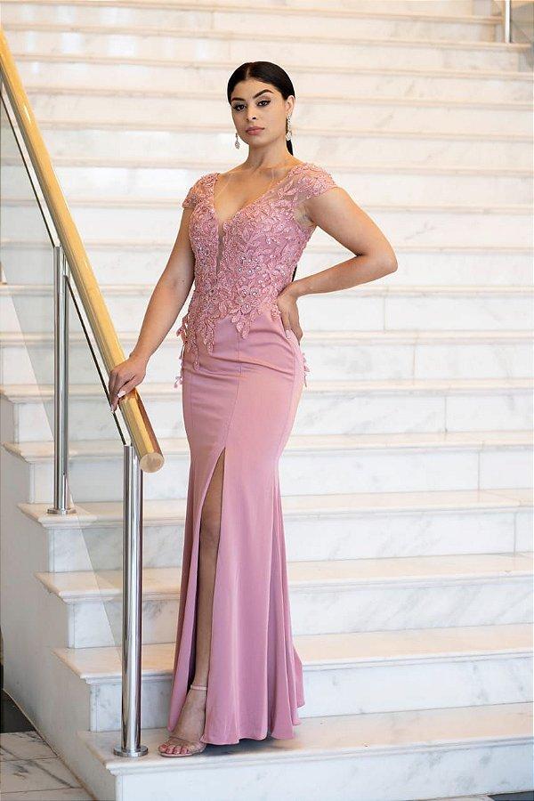 Vestido De Festa Longo Sereia rosa Ana Leticia Aluguel
