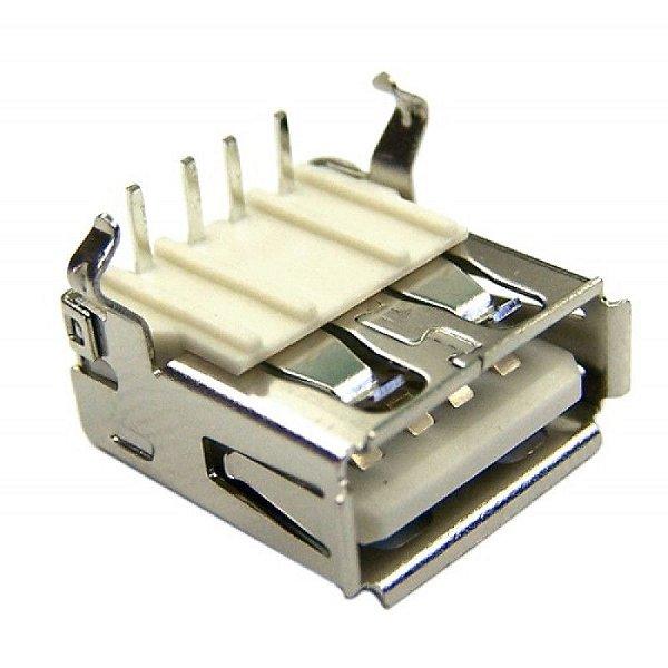 Conector USB Fêmea 90º com trava