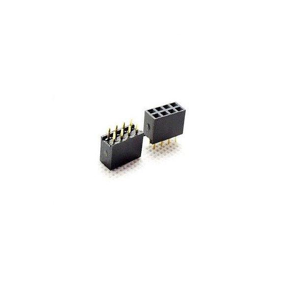 Conector Header Femea Duplo 2x4 Pinos