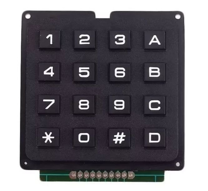 Teclado Matricial 4x4 Rígido Preto para Arduino