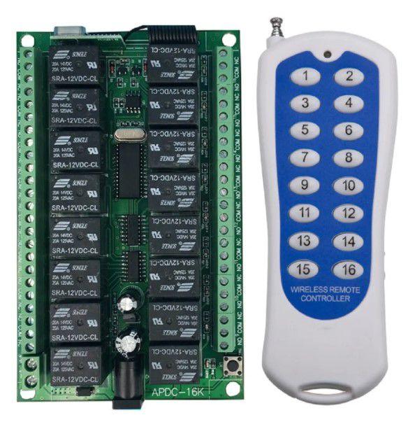 Controle Remoto Rf 433mhz + Módulo Relê 16 Canais 12V - Ideal para Automação Residencial
