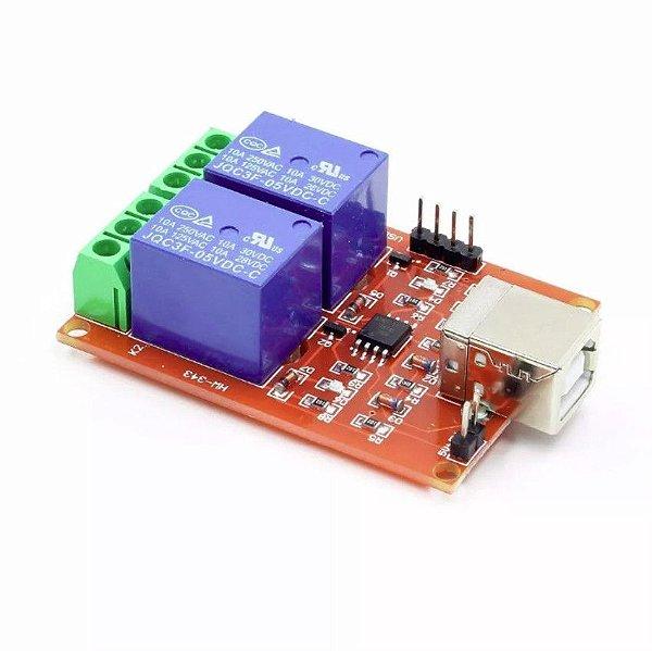 Módulo Relé 2 Canais 10A com acionamento USB 5V
