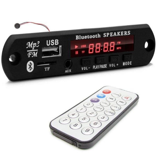 Placa Decodificadora FM/USB/Auxiliar/Bluetooth + Controle Remoto