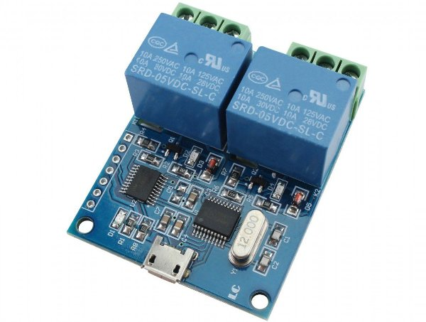 Módulo Relé 2 Canais com Micro USB - Conversor CH340