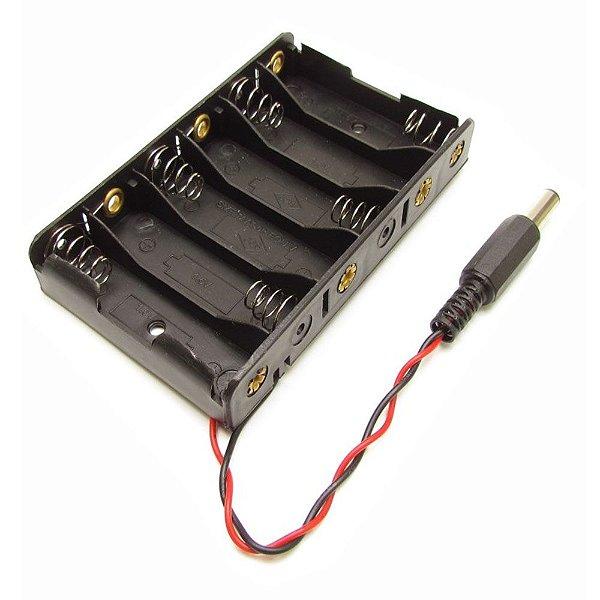 Suporte para 6 pilhas AA com Plug P4 para Arduino